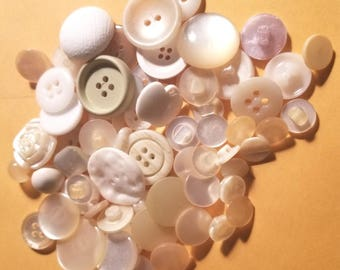 Grab bag mix of miscellaneous white, off white, opalescent buttons