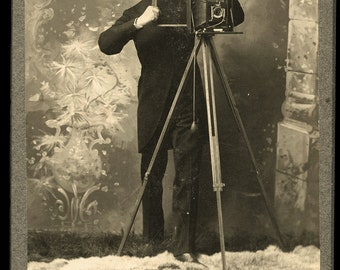 Cabinet Card of a Michigan Photographer and His Camera