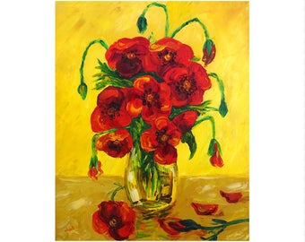 Flower bouquet - table oil knife on canvas painting