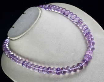 1 Line 704 Carats PINK AMETHYST Facetted Cut Rondelle Gemstone Beads NECKLACE