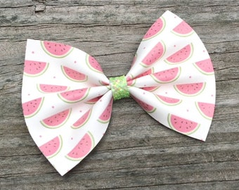 Watermelon Hair Bow, Pink Watermelon Bow, Summer Bows, Toddler Hair Bow, Watermelon Bow Headband, Watermelon Hair Clip, Fruit Hair Bow