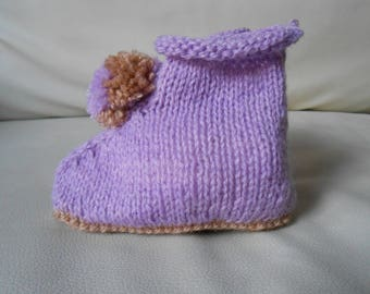 6-9 month baby booties knitted hands style boots with tassel