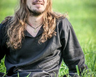 Black linen shirt for men, folk metal clothing, viking period tunic, natural black costume with long sleeves, medieval wear