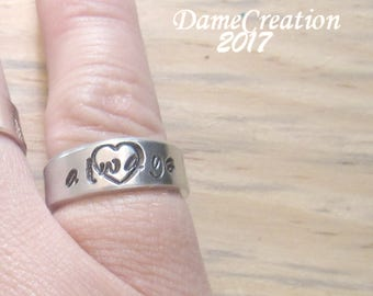 Engraved Rings for Women Gifts, Custom Hand Stamped Ring, Heart Ring with Initials, Anniversary Ring for Women