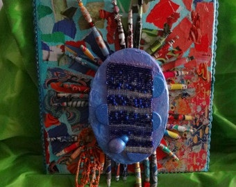 NEW LOWER PRICE   BlueBurst  colorful dimentional  collage on canvas loom bead work crochet paper