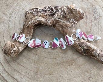 Scottish Sea Pottery teenie shard bracelet in pinks