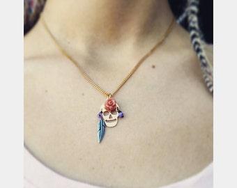 Sugar Skull necklace. Mexican jewelry, tribal jewelry, day of the dead, Día de los Muertos, sugar skull jewelry, gold skull necklace