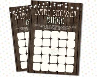 Baby shower Bingo Rustic (INSTANT DOWNLOAD) - Rustic Baby Shower - Baby shower games - Baby shower bingo printable BA005
