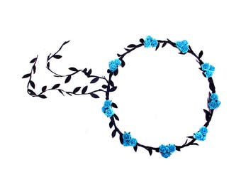 Pretty Turqouise Floral and Black Ivy Leaf Trim Festival Floral Grecian Olympic Hair Crown/Garland