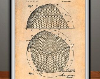 1954 Geodesic Dome Patent Print, Buckminster Fuller, Geodesic Dome Print, Architecture Gift, Architectural Art, Dome Art, Architect Gift