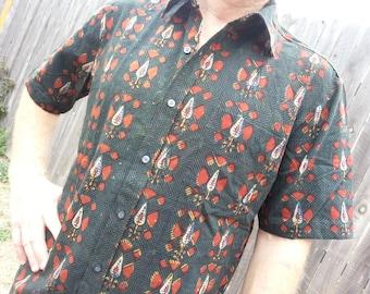 Men's Hand Block Printed Indian Soft Knit Cotton Button Down Dress Shirt - Evergreen - Anton H778