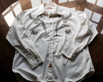 Rockabilly 50s style Embroidered Western Shirt. Crisp White . L-XL