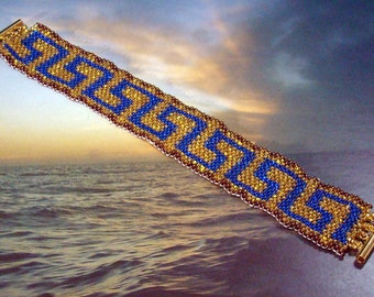 Greek Key or River of Life Even Count Peyote PDF Pattern, blue, gold, bronze