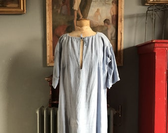 Antique French light blue linen cotton metis smock size M