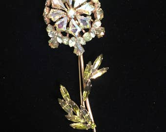 Gorgeous Green-toned AB flower brooch by Weiss