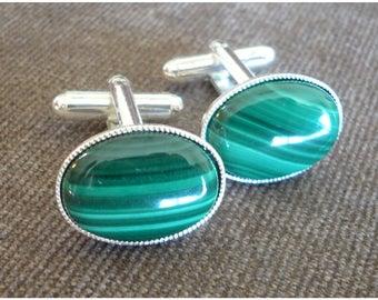 Green Malachite Cufflinks.Gemstone Silver Plated Gift for him Mens Oval Cuff Links Dad Husband Boyfriend.Birthday Wedding Groom Menswear