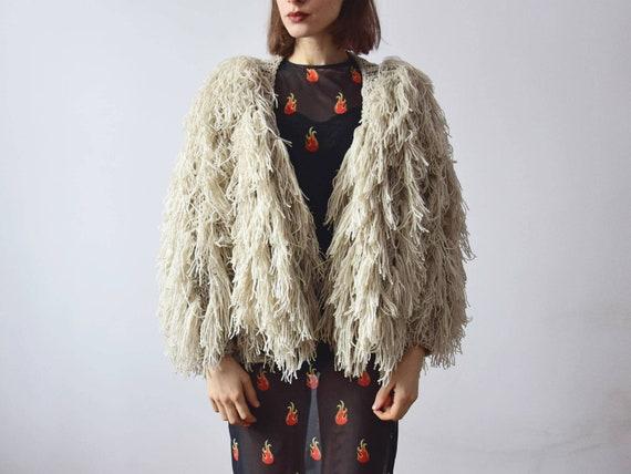 Cardigan Furry Clothing Knit Shaggy Cardigan Oversized Cardigan Festival Shaggy Handknitted Sweater Jacket Boho x6qYwZqSp