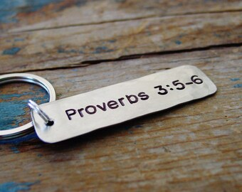 Bible Verse Keychain, Hand Stamped, Personalized, Scripture Keychain, Religious Gifts, Christian Gifts, First Communion Gifts, Teen Gift