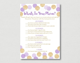 Purple & Gold Bridal Shower What's In Your Phone Game / Bridal Shower Phone Game / Glitter Dots / Confetti / INSTANT DOWNLOAD B113