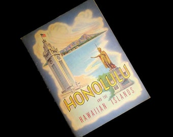 Vintage 40s Honolulu and the Hawaiian Islands Souvenir Booklet