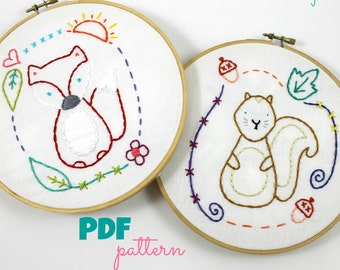 Fox and Squirrel. Hand Embroidery Pattern. PDF Pattern. Embroidery Designs. Woodland Friends. Forest Creatures. Nursery Hoop Art. Cute.