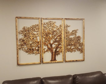 Elegant Tree Of Life Wall Art 3 Panels Handmade 3D   Home Decor Dark Frame