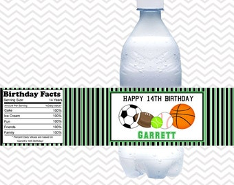 All Star Sports - Personalized Water bottle labels - Set of 5 Waterproof labels