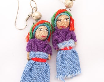 Worry Doll Earrings Cloth Doll Peasant Dress Ear Wires