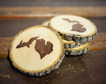 State of Michigan wooden disc coasters