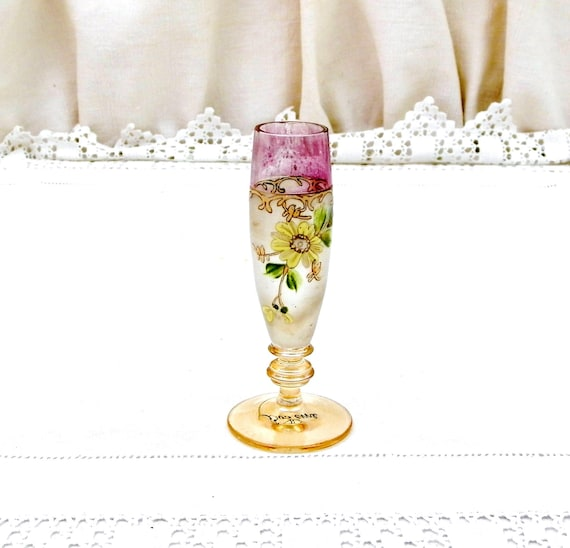 Small Antique Hand Painted Boheme Glass Posy Vase, Tiny French Art Nouveau Flower Bouquet Stem Foot Glass Vase with Painte Floral Pattern