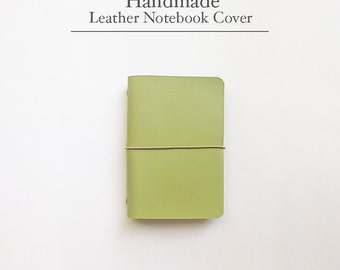 FREE SHIPPING Handmade Leather Traveler's Notebook Cover /Midori style notebook cover/Green/greenery/Light Green/ Leather Journal / Fauxdori