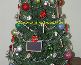 Tabletop Christmas Tree with Mini Chalkboard Ornaments