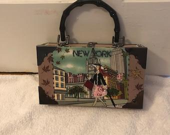 New York Skyline Beaded Cigar Box Handbag with Lady Shopping Bamboo Handles and Gingham Interior