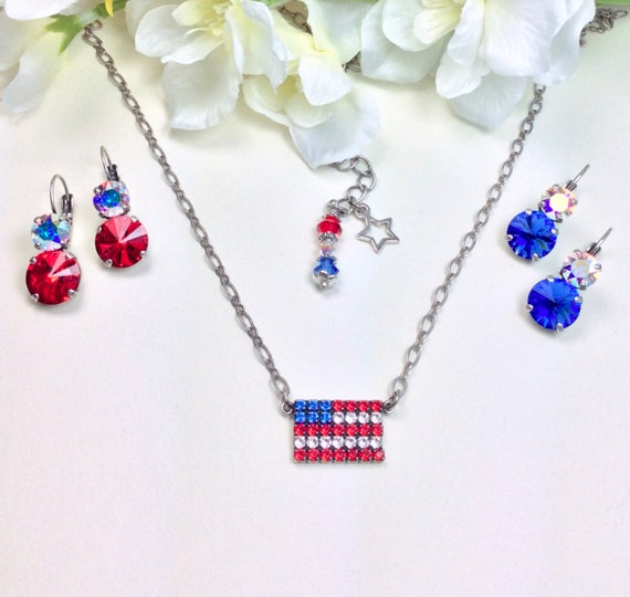"""Swarovski Crystal """" Stars & Stripes """"  Pendant Necklace and Earrings-""""  Bright Red, AB, and Sapphire Blue - FREE SHIPPING"""