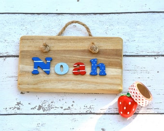 Personalised Wooden Name Plaque -Nautical Name Plate Boys Colours Gift Name Sign