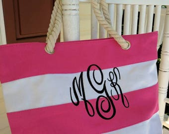 Beach tote bag, monogrammed tote bag, personalized tote bag, custom bag, custom bridesmaid bag, bridal party gift, monogrammed bridesmaid