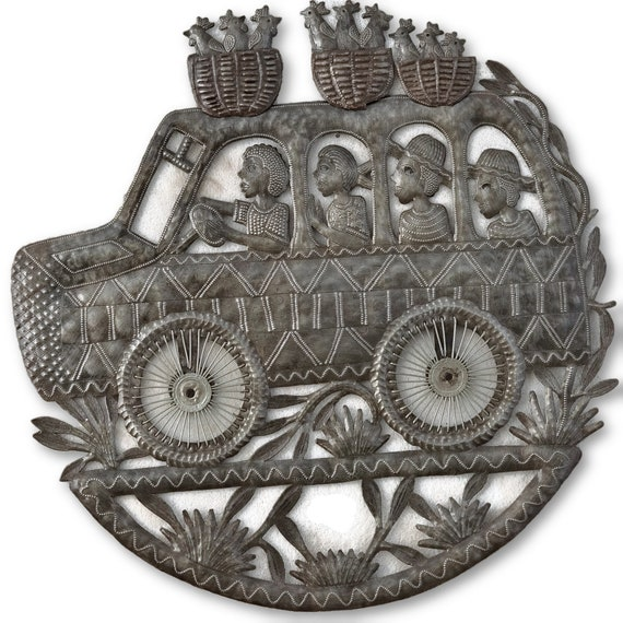 Tap Tap Bus in Haiti, One-of-a-Kind Quality Metal Art, 22.5x22.5