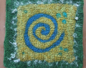 Stuhlauflage, chair pad, felted, thick, 35x35cm, 100% wool, handmade