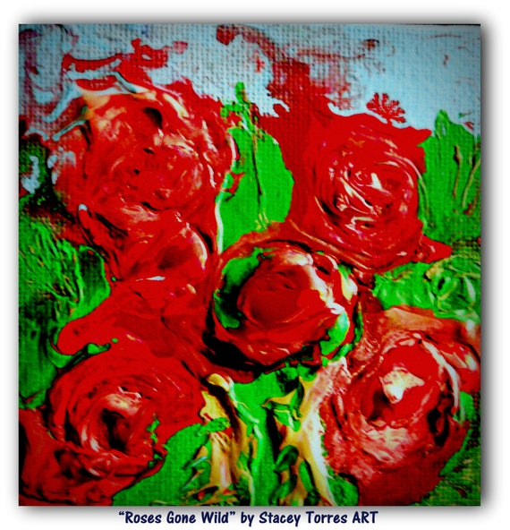 """ROSES GONE WILD, Acrylic Painting on 4 x 4"""" Canvas Panel, red, Bordeaux, pink & green, Folk Art, Stacey Torres Artist, Flowers"""