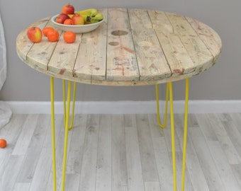 Upcycled cable reel dining table /shop display on hairpin legs