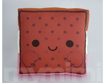 """Ice Cream Pillow, Ice Cream Sandwich, Food Pillow, Neopolitan, Dessert Pillow, Decorative Pillow, Kawaii Pillow, Childrens Toys, 7 x 7"""""""