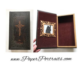 Vlad the Impaler, Dracula, OOAK Vintage Book Box with Real Hand Cut Silhouette