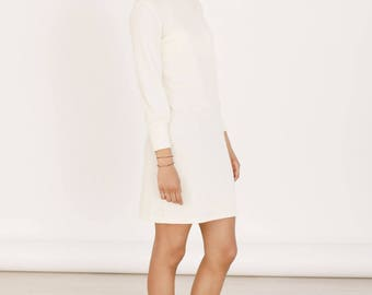 Organic cotton sweater dress - Eco friendly white dress - Jumper dress - Organic clothing