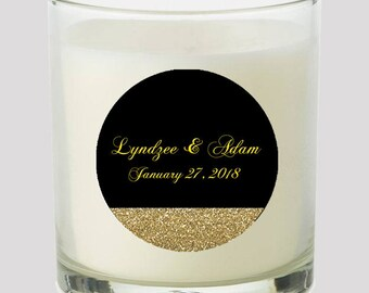"""Black and Gold Glitter 2"""" Favor labels Great for personalizing your events Weddings Candles, cupcake toppers Mason Jar decals, Stickers"""