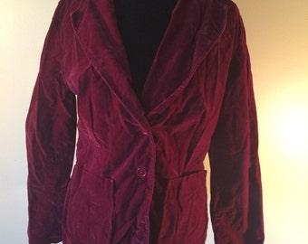 SALE Wine Colored Crushed Velvet  Blazer // Vintage Velvet Jacket
