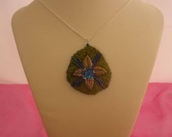 Woven Lotus Pendant on Sterling Silver Serpentine Chain