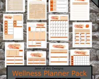 Wellness Journal Planner Printable; Daily, Weekly, Monthly Calendar; Goal Setting; Lifestyle; Letter Size; 42 Pages