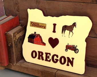 Wood Wall Plaque I Love Oregon Country Farm Theme