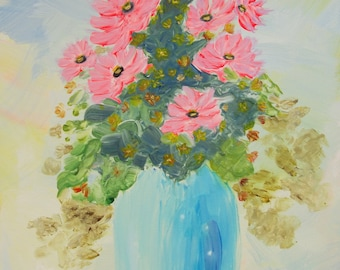 """Pink Daisy Display - Original Acrylic Painting on Canvas 14"""" x 11"""". Landscape Paintings, Wall Art, Canvas Art, Home Decor, Canvas Paintings"""