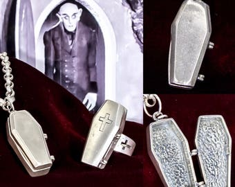Vintage Sterling Silver Coffin Locket Pendant Pillbox US Designer c. 1990s